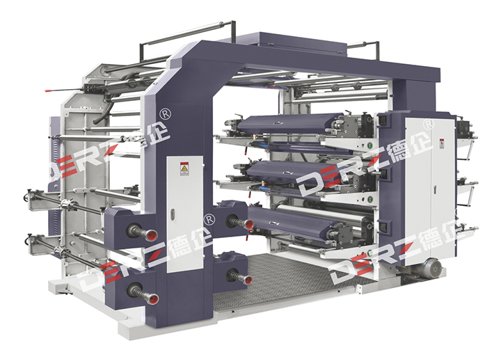 stack type six-colors high speed flexographic priting machine